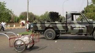 A military vehicle blocking access to a road in Niamey on 19 February