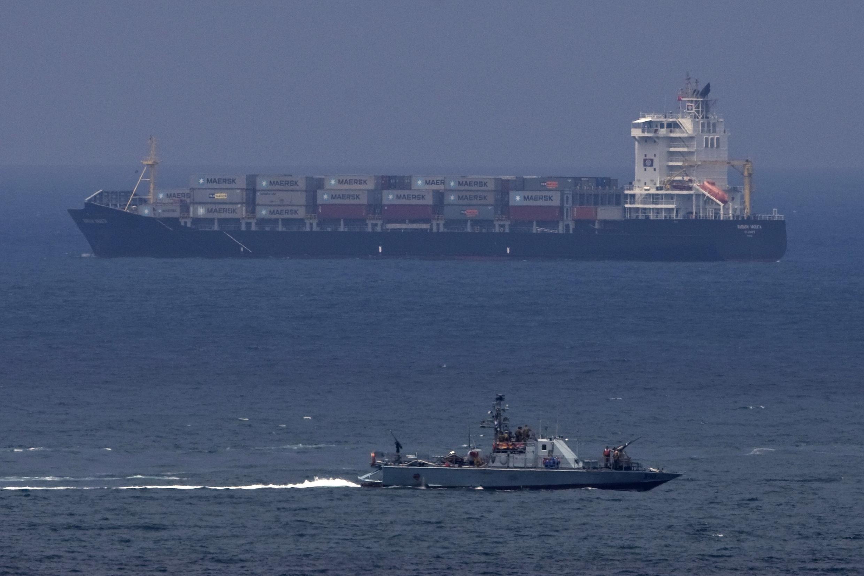 An Israeli naval vessel patrols near the port of Ashdod
