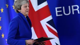 Thủ tướng Anh Theresa May họp báo sau thỏa thuận về Brexit với 27 quốc gia Châu Âu tại Bruxelles, Bỉ, ngày 25/11/2018.