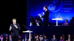 Presidente francês, Emmanuel Macron, durante sessão plenária do Fórum de Paris sobre a Paz, em 12 de novembro de 2019.