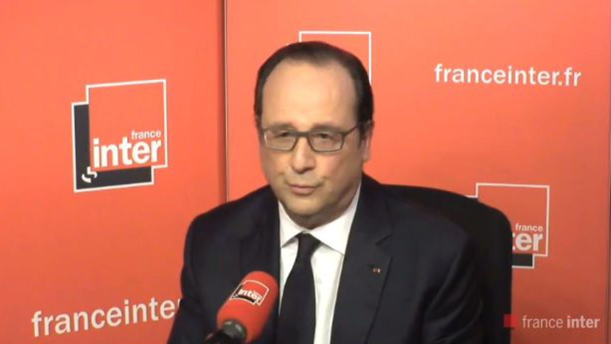 """فرانسوا هولاند، رئیس جمهوری فرانسه، در گفتگو باشبکه رادیویی """"فرانس انتر"""" در پاریس.  یکشنبه ۵ ژوئن ٢٠۱۶"""