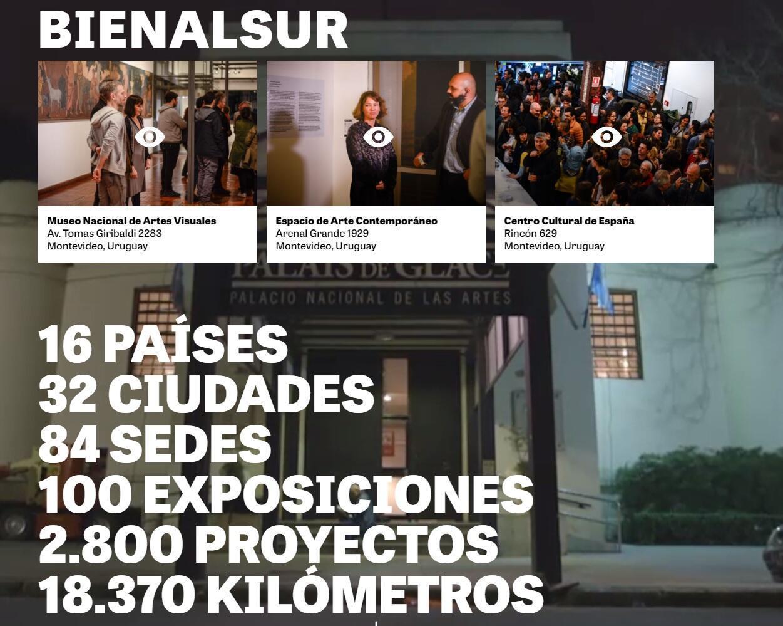 Captura de pantalla del sitio de internet de Bienalsur.