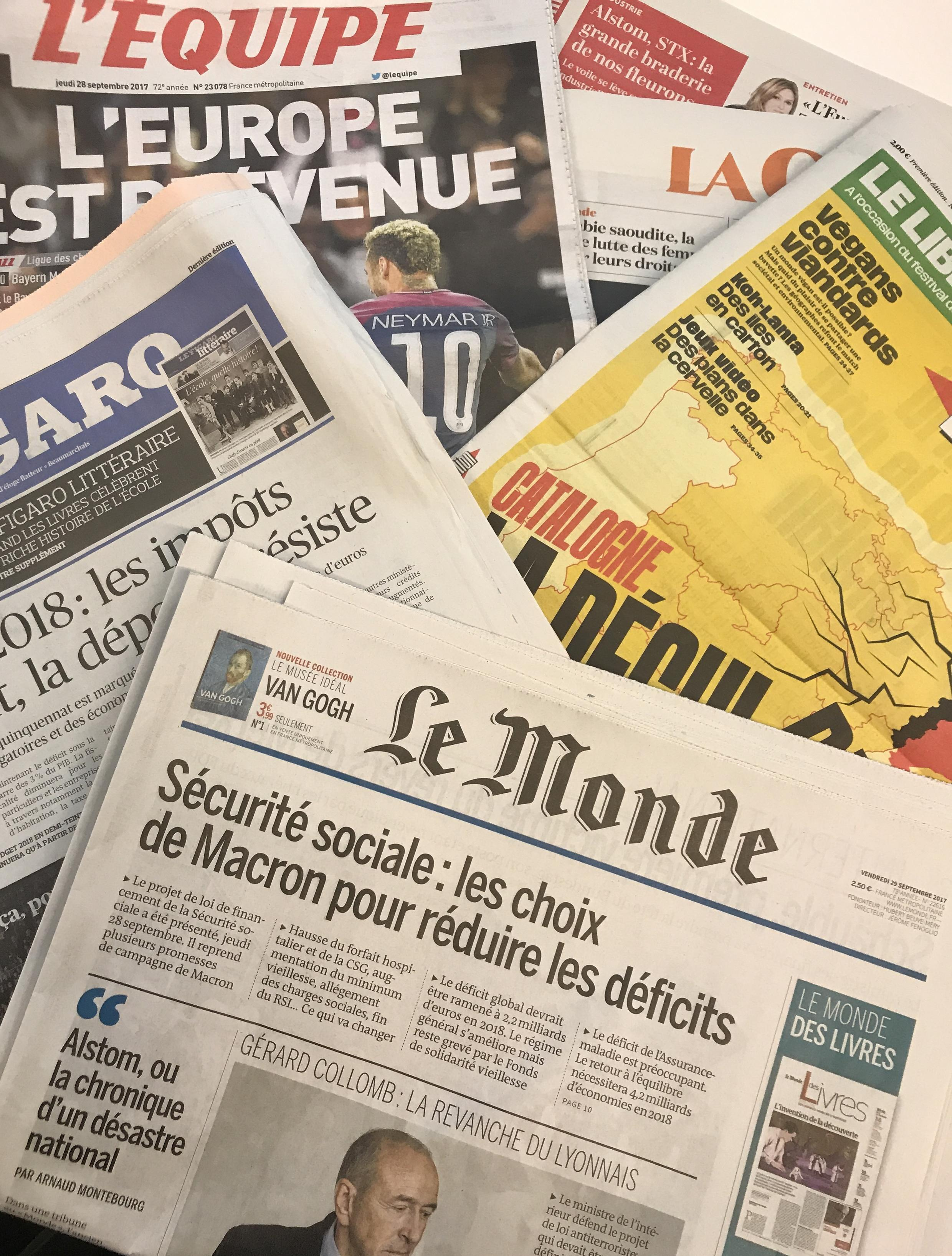 Capas dos diários franceses 28/09/2017