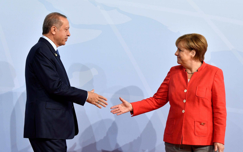 德國總理默克爾與土耳其總統埃爾多安在漢堡20國集團上 2017年7月7日