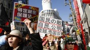 Biểu tình tại Tokyo, Nhật Bản, phản đối luật về bí mật Nhà nước, 07/12/2013
