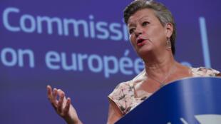 La comisario Ylva Johansson habla durante una rueda de prensa el 4 de septiembre de 2020 en Bruselas