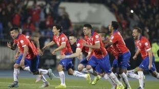 Jogadores chilenos comemoram conquista inédita da Copa América