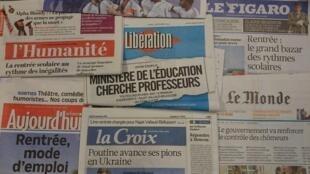 Primeiras páginas diários franceses 2/09/2014
