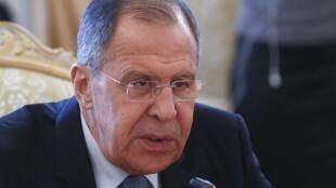 Ngoại trưởng Nga Sergueil Lavrov trong cuộc họp báo tại Matxcơva, ngày 02/04/2018