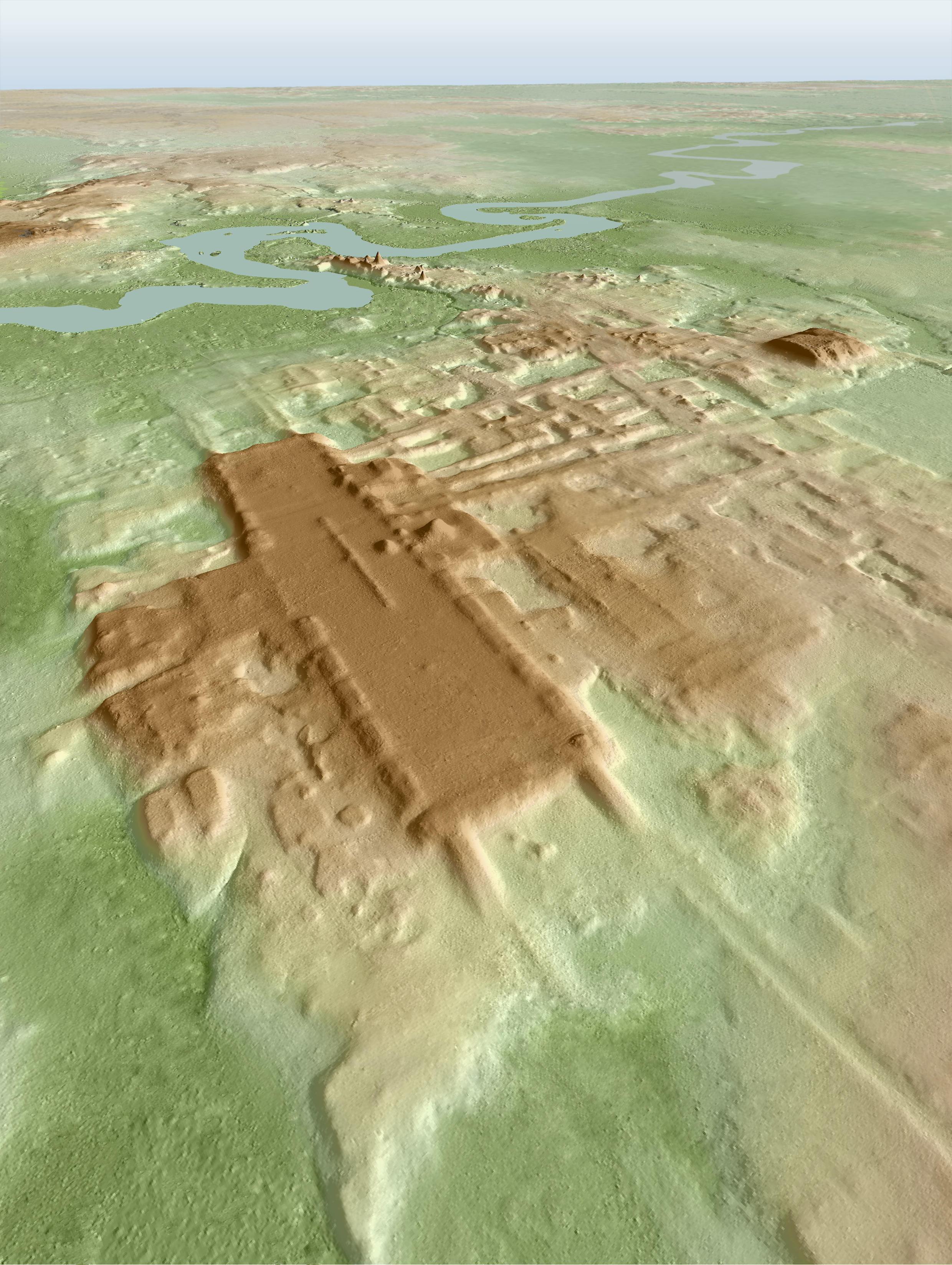 Imagen tridimensional del sitio de 'Aguada Fénix', gracias a la técnica del lídar.