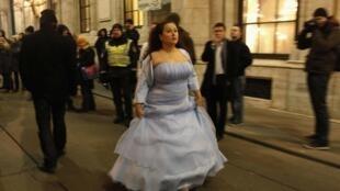 Вена. 27 января 2012 г. По уилцам австрийской столицы прошли акции протеста против бала Корпорации венских студентов