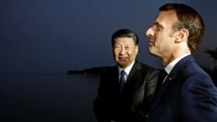中国国家主席习近平与法国总统马克龙资料图片