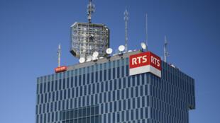La tour de la Radio Télévision Suisse (RTS) à Genève en avril 2017. La RTS fait partie des cinq groupes de radio et télévision publics suisses.