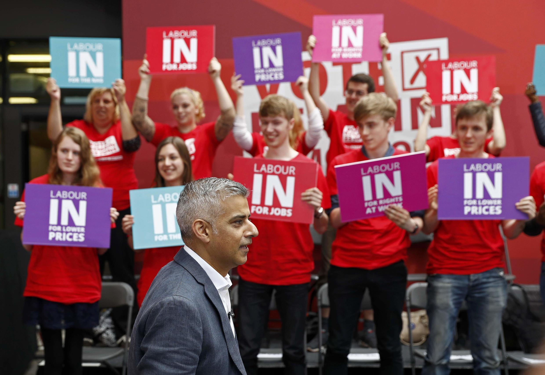 Мэр Лондона Садик Хан на митинге за сохранение Великобритании в ЕС, Лондон, 22 июня 2016 г.