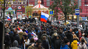 Manifestation des partisans de l'opposant Alexeï Navalny, à Moscou, le 7 octobre 2017.