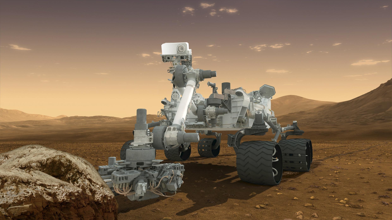 Mô hình robot Curiosity hạ xuống sao Hỏa ngày 6/8/2012 (REUTERS /NASA)