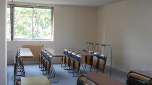 Empty desks at a school in Paris