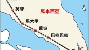 图为新加坡至马来西亚高铁计划图