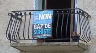 Opposition à l'extraction des gaz de schiste en Ardèche, France.