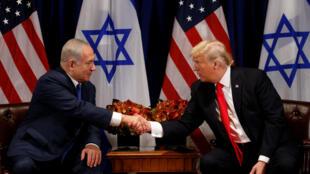 Donald Trump et le Premier ministre israélien, Benyamin Netanyahu, le 18 septembre 2017.