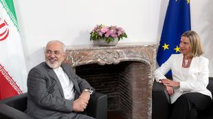 Министр иностранных дел Ирана Мохаммад Джавад Зариф и глава европейской дипломатии Федерика Могерини, Брюссель, 15 мая 2018.