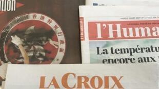 Primeiras páginas dos diários franceses de 2 de Julho de 2019.