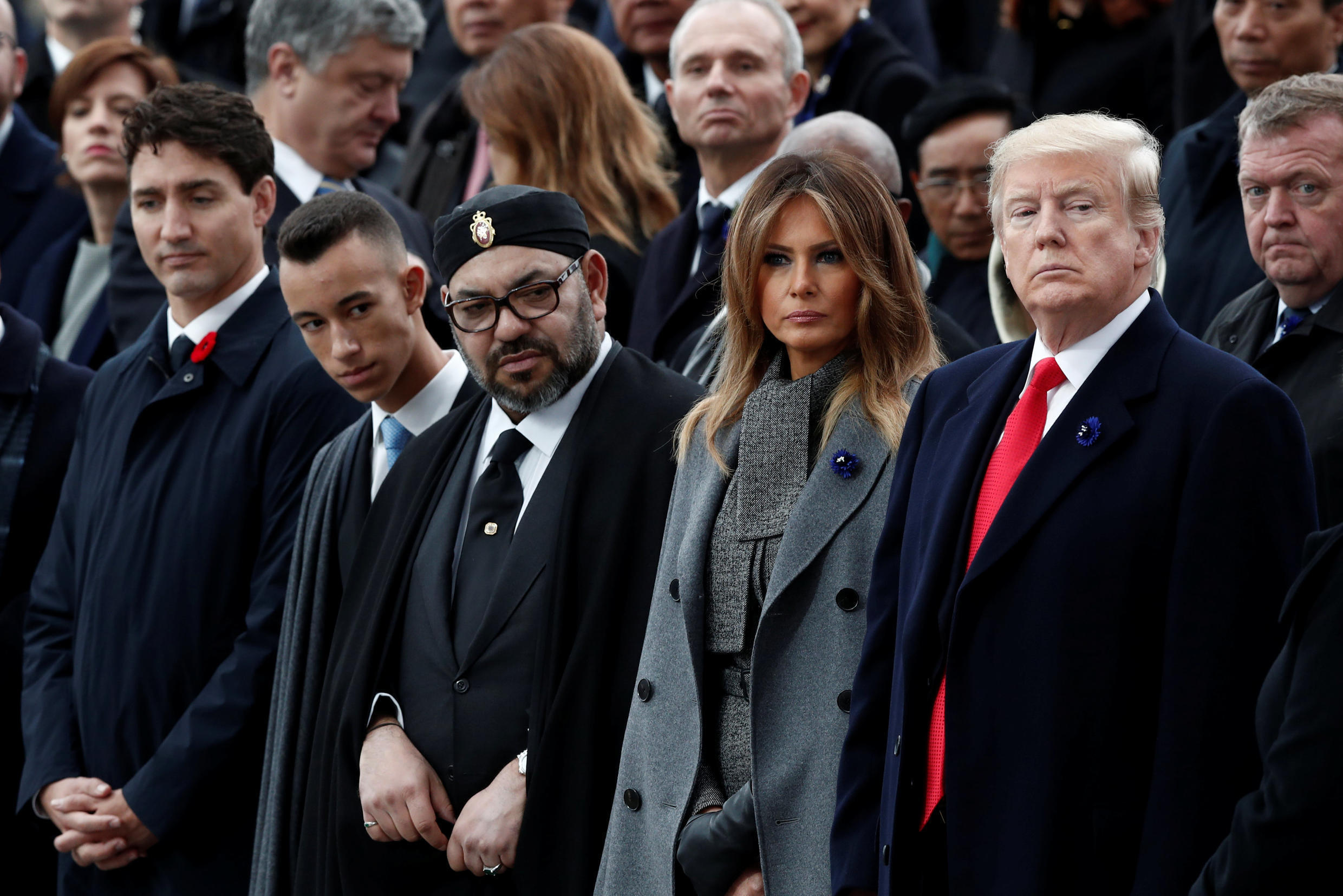 U.S. President Donald Trump, first lady Melania Trump, Morocco's King Mohammed VI, his son Crown Prince Moulay and Canadian Prime Minister Justin Trudeau attend a commemoration ceremony for Armistice Day, 100 years after the end of the First World War.
