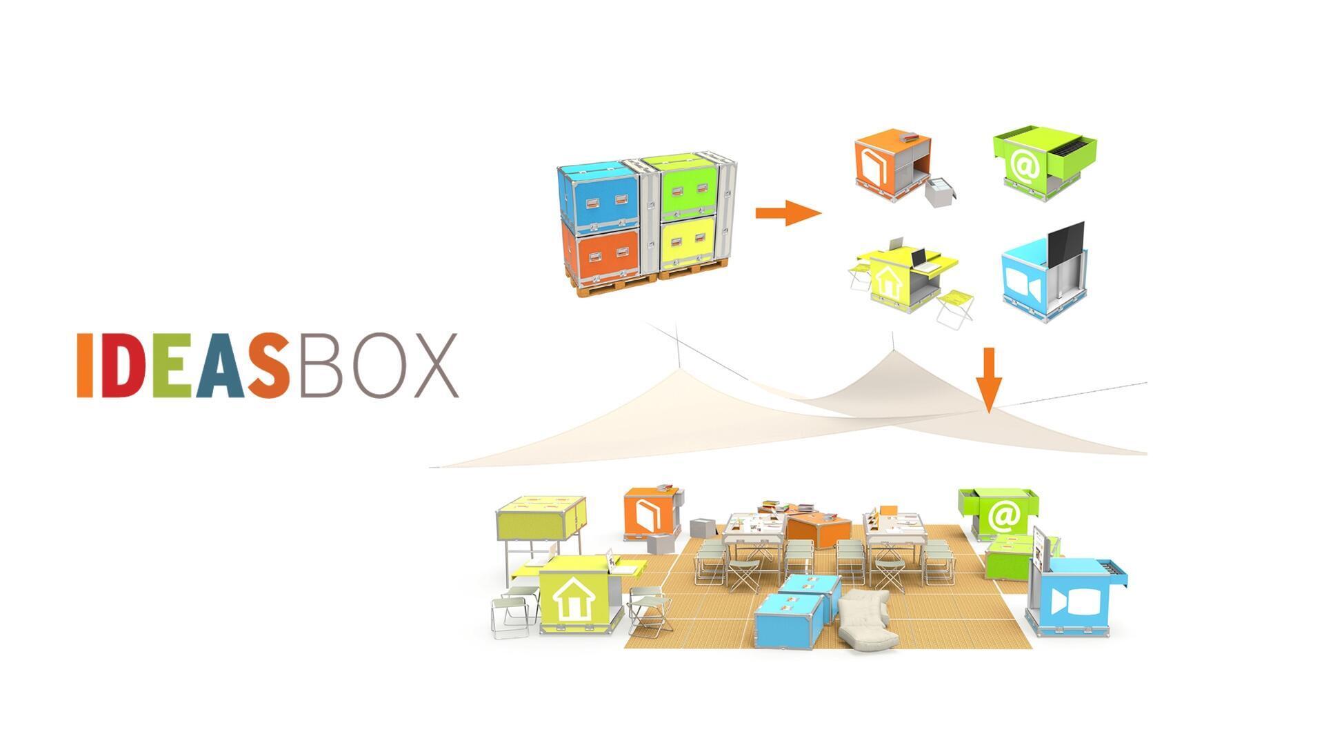Une fois déployés, les gros cubes de l'« Ideas box » forment un centre culturel d'une centaine de mètres carrés.