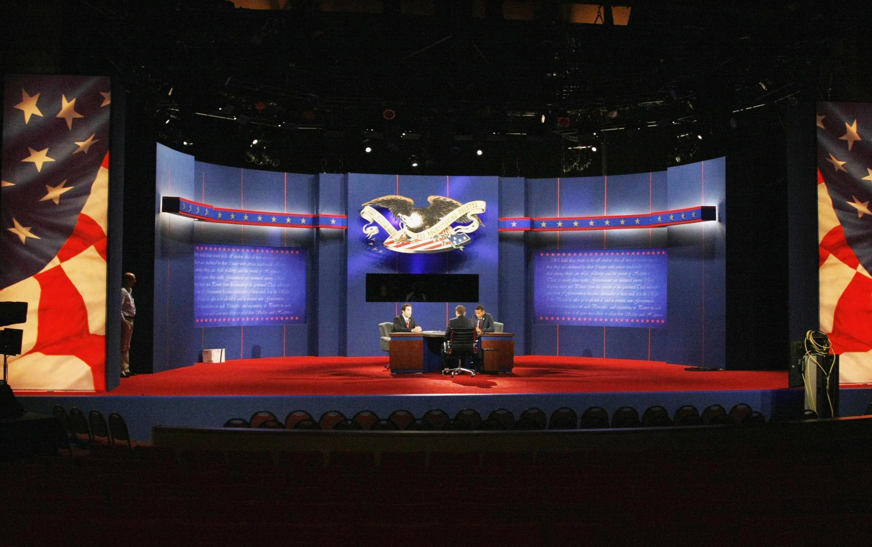 Phòng thu hình cuộc tranh luận Barack Obama - Mitt Romney