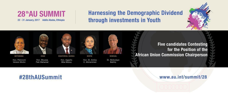 Affiche sur le site de l'UA présentant les 5 candidats à la présidence de la Commission: Pelonomi Venson Moitoi, Moussa Faki Mahamat, Agapito Mba Mokuy, Amina Mohamed Jibril et Abdoulaye Bathily (de g. à d.)