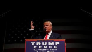 O candidato republicano, Donald Trump, durante comício no Maine, neste sábado 15 de outubro de 2016.