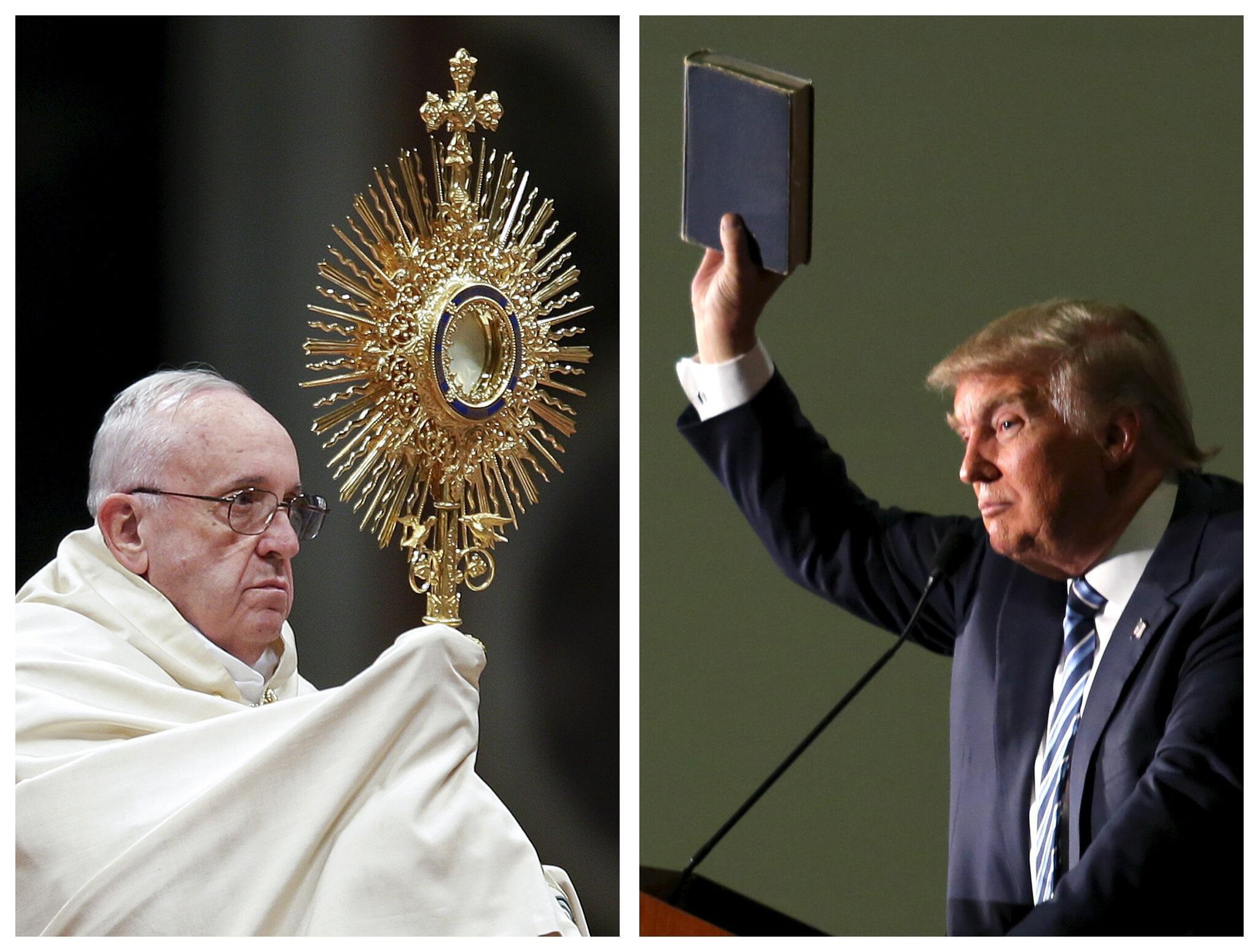 Папа Франциск (слева) и Дональд Трамп