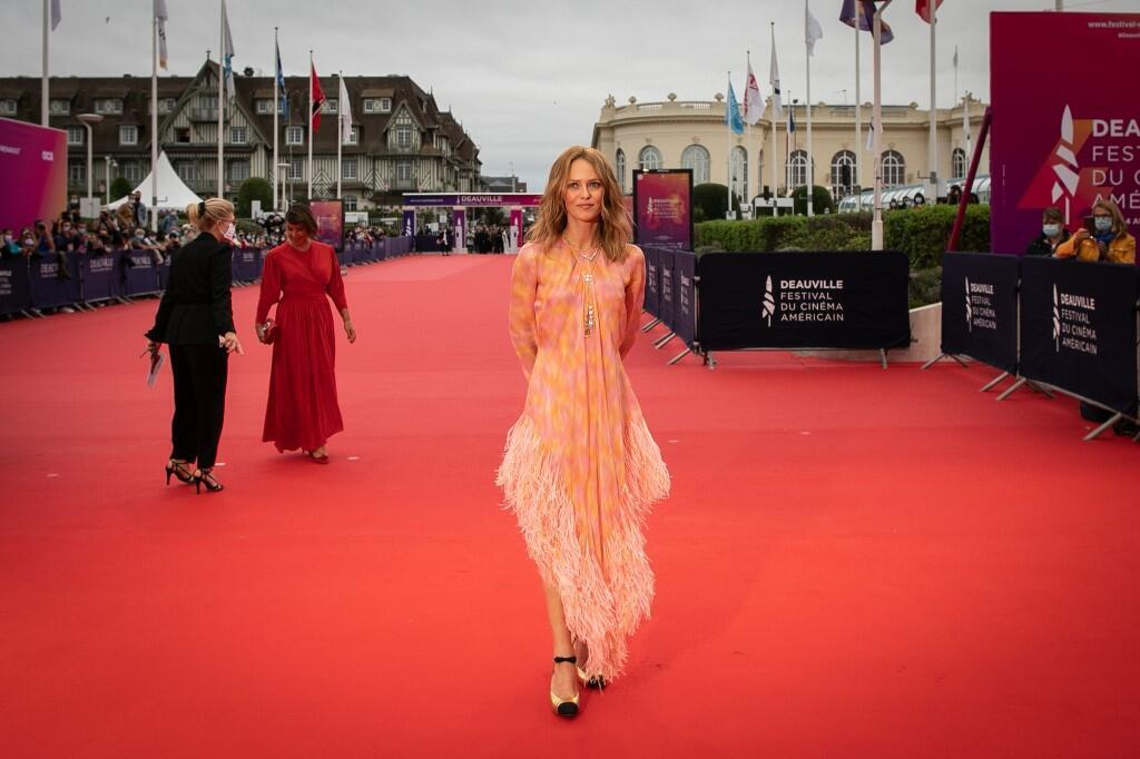 French singer, actress and president of the jury Vanessa Paradis poses on the red carpet as she arrives to attend the opening ceremony of the 46th edition of the Deauville US Film Festival, 4 September 2020.