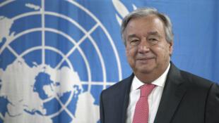 Le secrétaire général de l'ONU António Guterres, lors de sa visite à Bangui, le 26 octobre 2017.
