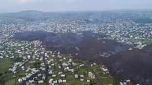 Goma - RDC - coulée de lave - volcan - vue aérienne