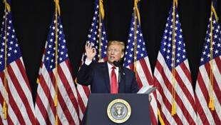 美国总统特朗普签署行政命令,对任何干涉美国选举的外国公司或人士实施制裁。图为2018年9月7日,特朗普在北达科他州参加募款活动