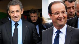Ứng cử viên tổng thống  Pháp François Hollande (P) và Nicolas Sarkozy.