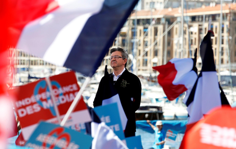 El candidato de la izquierda radical Jean-Luc Mélenchon el 9 de abril en Marsella.