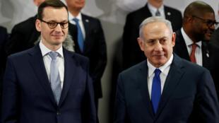 Imagen de archivo del primer ministro de Polonia Mateusz Morawiecki y su par israelí Benjamin Netanyahu.