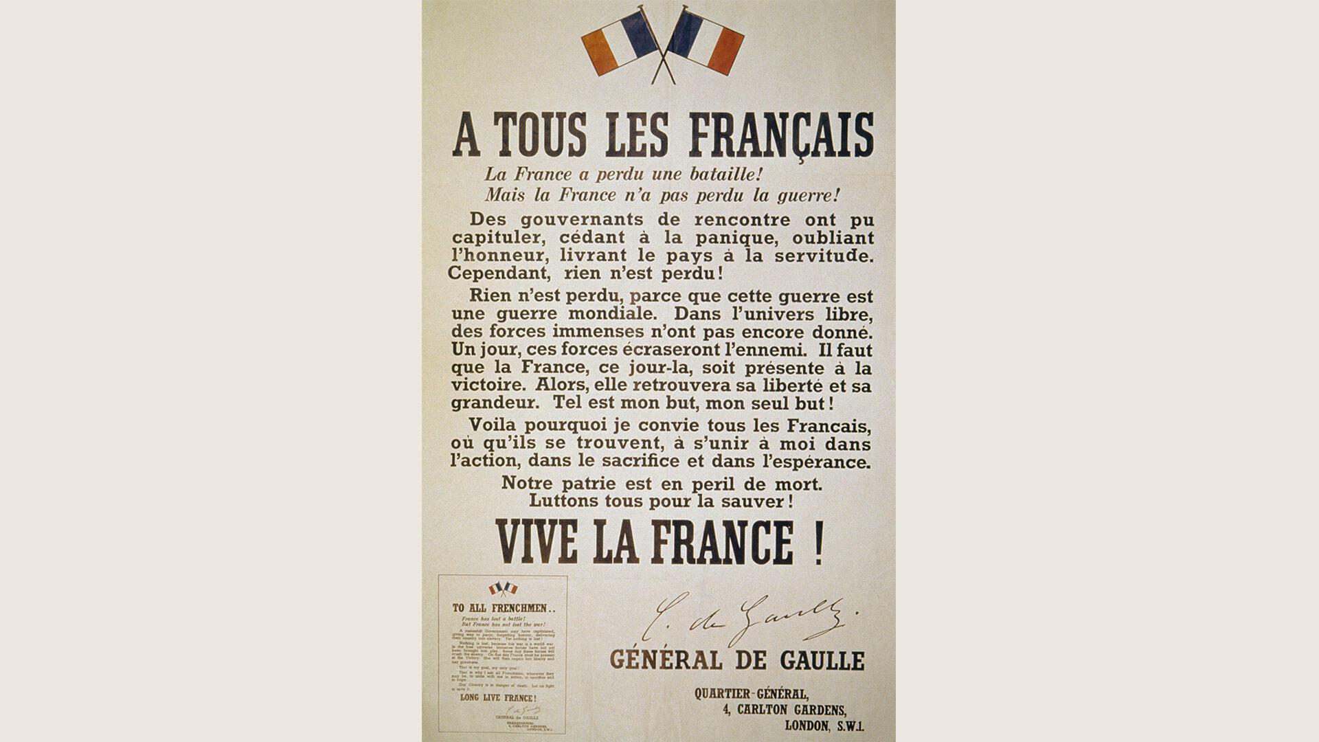 Affiche de l'Appel du 18 juin 1940