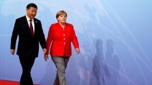 德国总理默克尔和中国国家主席习近平在汉堡20国集团峰会上  2017年7月7日