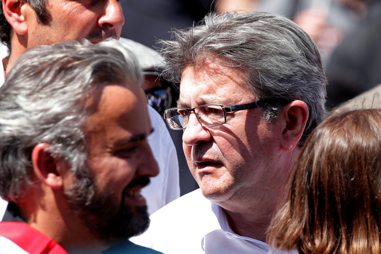 Ông Jean-Luc Mélanchon, phong trào Nước Pháp Bất Khuất, trong đoàn biểu tình phản đối tổng thống Macron ngày 05/05/2018 tại Paris.
