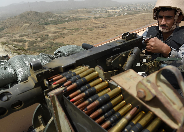A Saudi border guard near the Yemen border