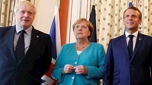 امانوئل ماکرون، رئیس جمهوری فرانسه، آنگلا مرکل، صدراعظم آلمان و بوریس جانسون، نخست وزیر بریتانیا