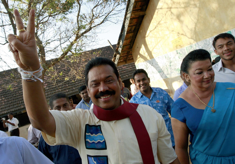 Le président victorieux, Mahinda Rajapakse.