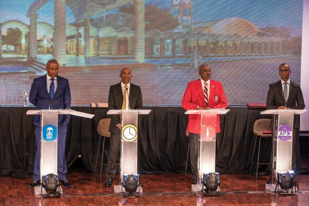 From left to right Duma Boko of the UDC, the BDF's Biggie Butale, incumbent President Mokgweetsi Masisi of the BDP and Ndaba Gaolathe of the AP square off in Botswana holds first-ever presidential debate, BTV Auditorium in Gaberone, 16th October 2019