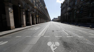 Am empty road in Paris during the first lockdown on April 18, 2020