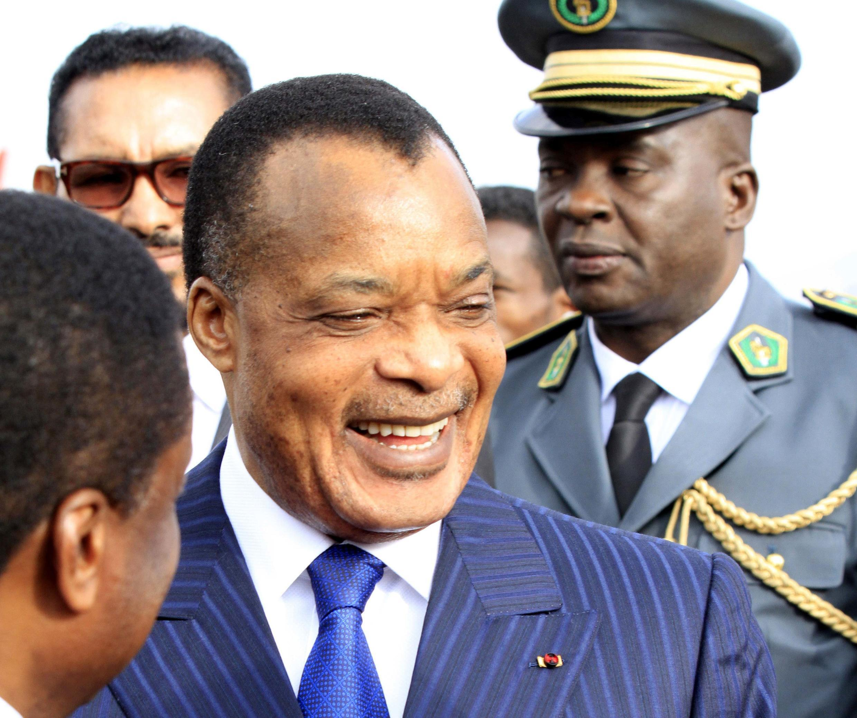 Le président congolais Denis Sassou Nguesso, à son arrivée à l'aéroport international de Bole (Addis-Abeba), le 29 janvier 2014.