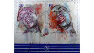 """Une oeuvre du plasticien camerounais Jean-David Nkot dans son exposition """"Jeux de maux"""", visible jusqu'au 13 janvier 2019 à la Cité Internationale à Paris."""