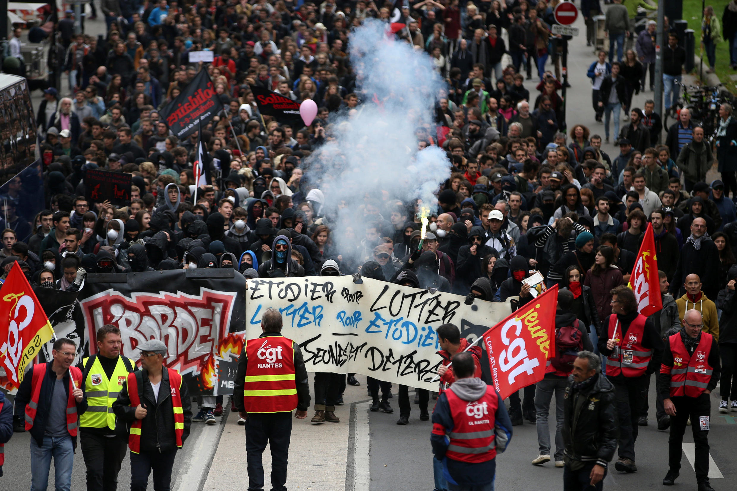 Students,and trade unionists demonstrate in Nantes on Tuesday